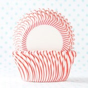 Image of Red Pin Stripe Cupcake Liner