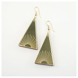 Image of Sun Burst Triangle Earrings