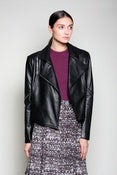 Image of Leather Zip-Sleeve Jacket (Black)