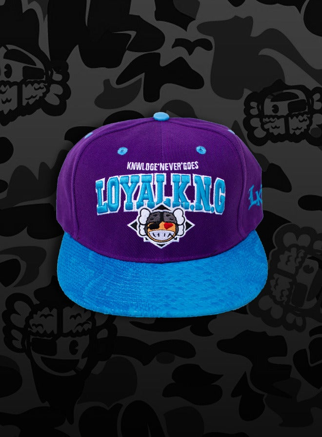 Image of Rebellious Loyal K.N.G. Strapback Cap - Purple/Teal-Snake Leather