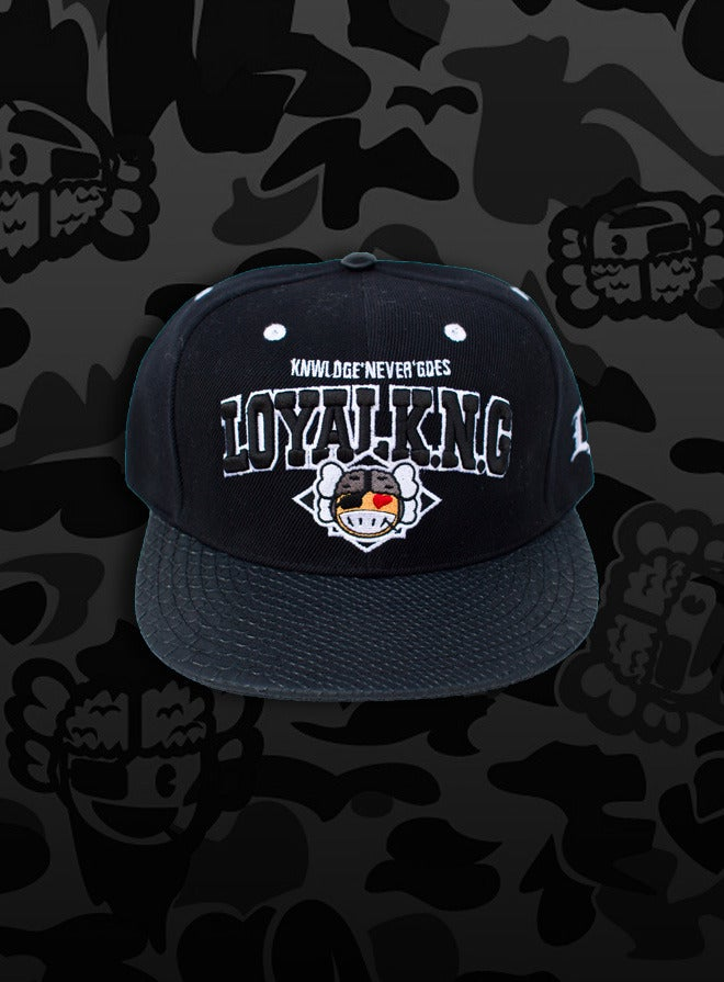 Image of Rebellious Loyal K.N.G. Strapback Cap - Black/Black-Snake Leather