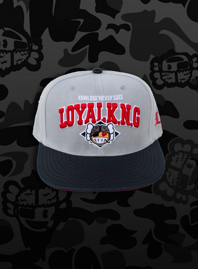 Image of Rebellious Loyal K.N.G. Strapback Cap - Light-Grey/Black-Snake/Red-Leopard