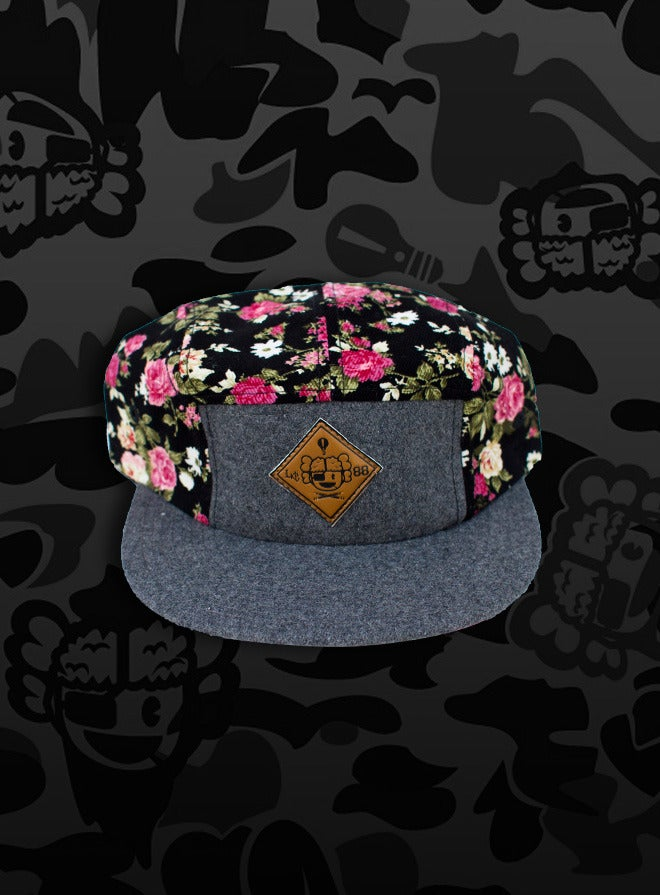 Image of Cruel Spring 5-Panel Cap - Black-Floral Corduroy/Charcoal-Wool