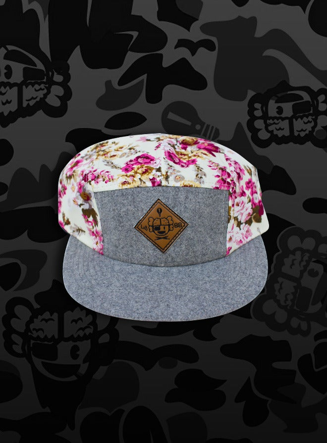 Image of Cruel Spring 5-Panel Cap - White-Floral/Grey-Wool