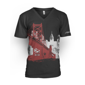 Image of Men's Ben Franklin Bridge V-Neck Tee (Black)