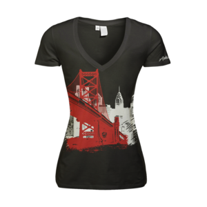 Image of Women's Ben Franklin Bridge - Deep V (Black)