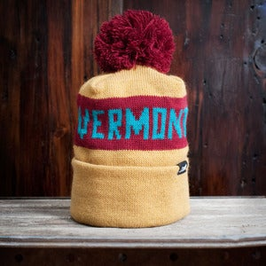 Image of The Vermont Pom Beanie - Gold, Burgundy & Teal