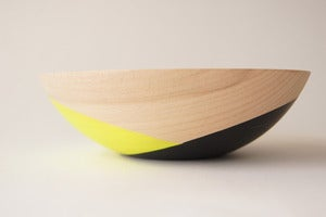 "Image of Neon Yellow and Black Crossed 7"" Wood Bowl"