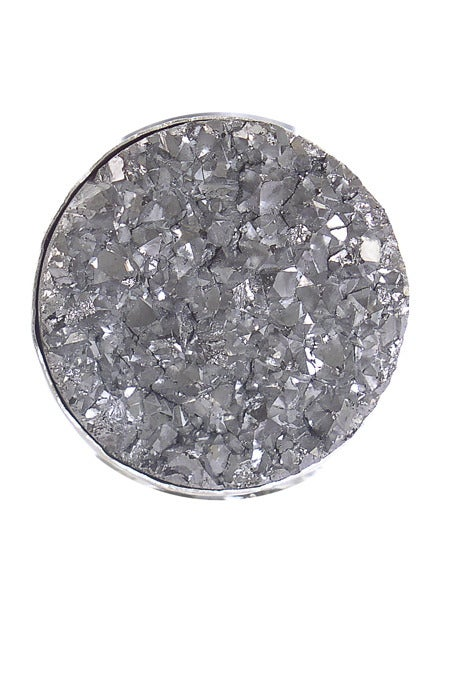 Image of Silver Druzy Round Ring