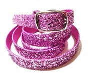 Image of Candy Pink Glitter Skinny Belt