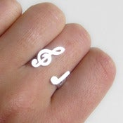 Image of Treble Clef Ring - For Music Lover - handmade sterling silver ring.