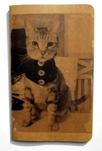 Image of 5&quot; X 8.25&quot; Blank Journal with image transfer of Andy the Cat. Kraft Version.