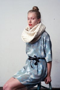Image of as seen in BUST magazine lambton EXTRA-chunky version of merino wool cowl (shown in natural)