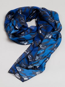 Image of Houndtooth unisex scarf (Dark Blue)