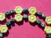 Image of Yellow Flowers Green Agate Necklace