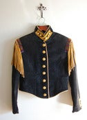 Image of Double D Ranch Wear Calvary Jacket Vintage Fringed and Beaded Cropped Military Jacket