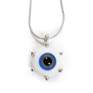 Image of Small Silver & Glass Eyeball Necklace