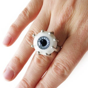 Image of Large Silver & Glass Eyeball Ring