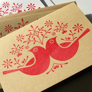 Image of 6 Hand Printed 'Birds & Berries' Note Cards.