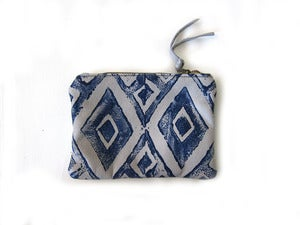 Image of Small grey/navy diamonds hand-printed leather pouch/wallet