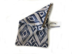 Image of Medium grey/navy diamonds hand-printed leather long pouch