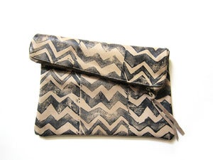 Image of Large bone/black zig zag hand-printed leather pouch