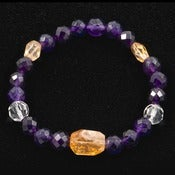 Image of Amethyst, Citrine and Clear Quartz Bracelet -- Reiki Charged