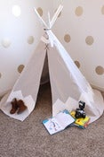 Image of Hand Painted Chevron Teepee-WHITE