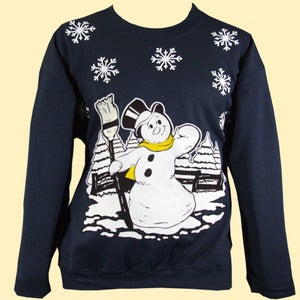 Image of Unisex Jack Frost Christmas Sweatshirt - Midnight Blue