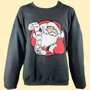 Image of Unisex Santa's List Christmas Sweatshirt - Midnight Grey