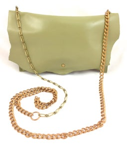 Image of chartreuse mixed metal chain pouch