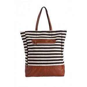 Image of Black & White EARLA STRIPE CANVAS TOTE
