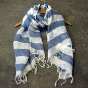 Image of striped linen scarf