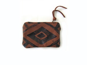 Image of Extra-small brown/black Diamonds hand-printed leather pouch/wallet