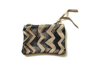 Image of Extra-small bone/black zig zag hand-printed leather pouch/wallet