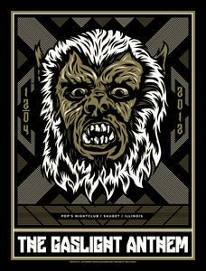 Image of The Gaslight Anthem - Sauget, IL - Wolf-Man Concert Poster