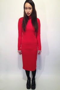 Image of turtle neck thick jersey maxi body con dress