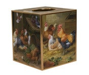 Image of Chickens in the Barnyard Tissue box