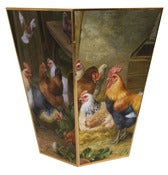 Image of Chickens in the Barnyard Wastebasket
