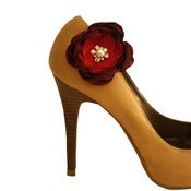 Image of Red and Burgundy Bridal Shoe Clips