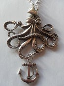 Image of Large Silver Octopus Necklace Heart & Anchor Detail Rockabilly Kitsch Nautical Tattoo