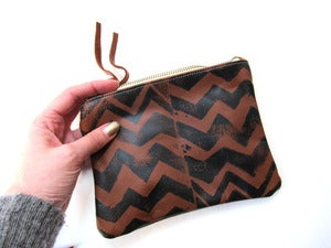 Image of Small brown/black zig zag hand-printed leather wallet/pouch