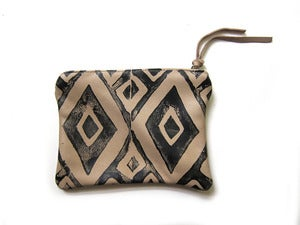 Image of Small bone/black hand-printed leather diamonds pouch/wallet