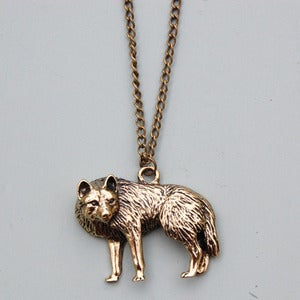 Image of Wolf Necklace in Antique Gold