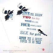 Image of Two for joy (new version) A3 magpie screenprint.
