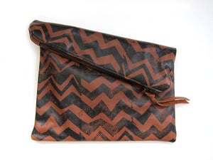 Image of Large brown/black zig zag hand-printed leather pouch