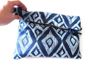 Image of Large navy/white diamonds hand-printed leather pouch