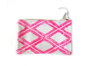 Image of Medium neon pink Xs hand-printed horizontal pouch