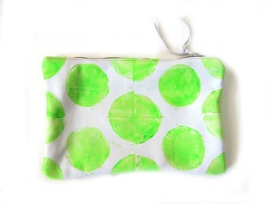 Image of Medium neon yellow green Os hand-printed horizontal pouch