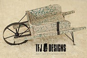 Image of Wooden Wheelbarrow - Vintage Style - Turquoise/Green Distressed - Metal Wheel